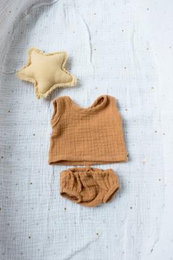 Unterhemd und Unterhose zimt für 35 cm Puppe
