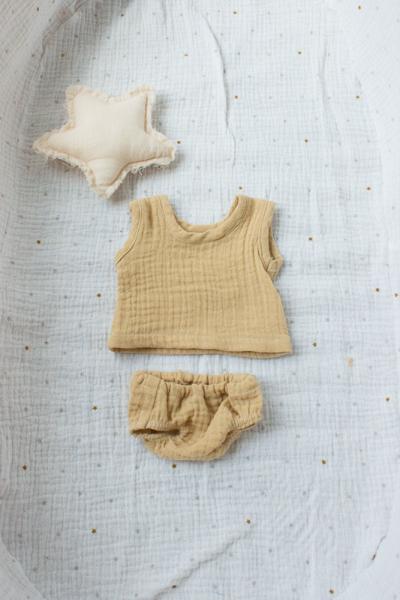 Unterhemd und Unterhose sesam für 35 cm Puppe