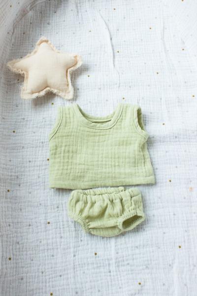 Unterhemd und Unterhose limone für 35 cm Puppe