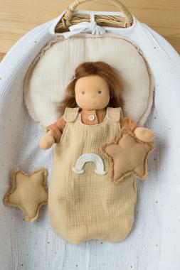 Schlafsack sesam mit Regenbogen für 35 cm Puppe