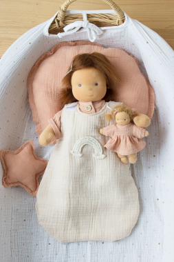 Schlafsack hafer mit Regenbogen für 35 cm Puppe