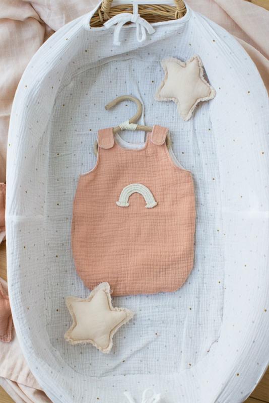 Schlafsack pfirsich mit Regenbogen für 35 cm Puppe