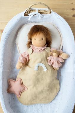 Schlafsack sesam mit Regenbogen für 45 cm Puppe