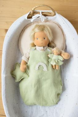 Schlafsack limone mit Regenbogen für 45 cm Puppe