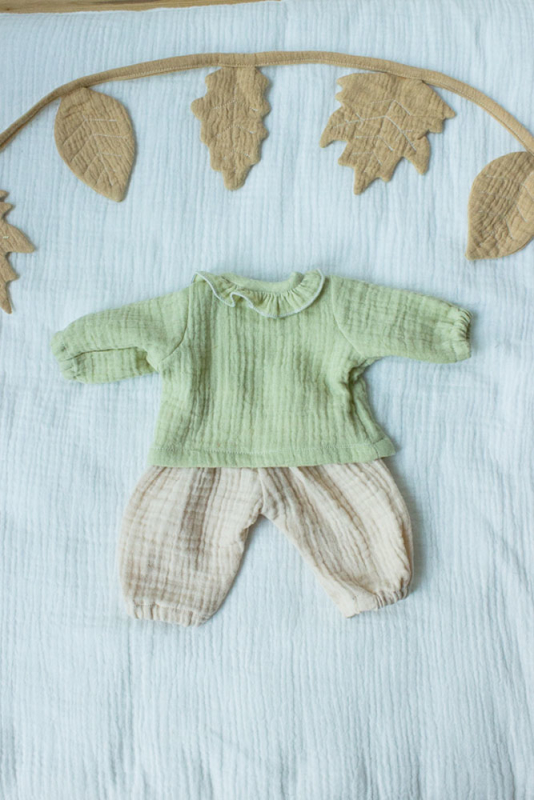 Pullover und Hose in limone/hafer für 35 cm Puppe
