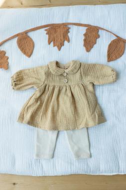 Kleid mit Leggings in sesam für 45 cm Puppe