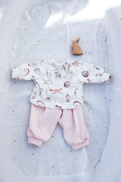 Schlafanzug Waldtiere für 45 cm Puppe