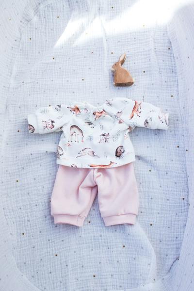 Schlafanzug Waldtiere für 35 cm Puppe